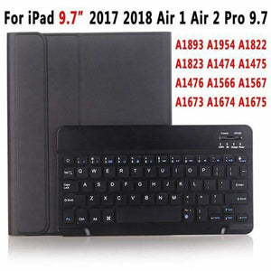 Slim Bluetooth Keyboard Case for Apple iPad 9.7 2017 2018 Air 1 2 3 10.5 2019 Pro 11 12.9 2018 mini 5 Cover with Pencil Slot - Black for 9.7