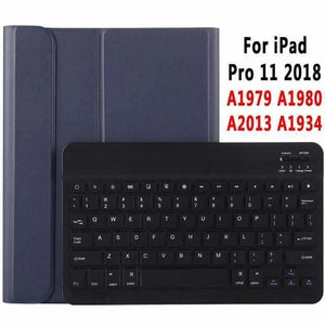 Slim Bluetooth Keyboard Case for Apple iPad 9.7 2017 2018 Air 1 2 3 10.5 2019 Pro 11 12.9 2018 mini 5 Cover with Pencil Slot - DarkBlue for