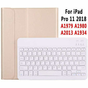 Slim Bluetooth Keyboard Case for Apple iPad 9.7 2017 2018 Air 1 2 3 10.5 2019 Pro 11 12.9 2018 mini 5 Cover with Pencil Slot - Gold for Pro