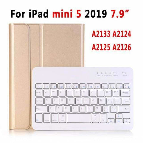 Slim Bluetooth Keyboard Case for Apple iPad 9.7 2017 2018 Air 1 2 3 10.5 2019 Pro 11 12.9 2018 mini 5 Cover with Pencil Slot - Gold For iPad
