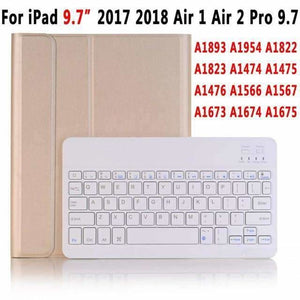 Slim Bluetooth Keyboard Case for Apple iPad 9.7 2017 2018 Air 1 2 3 10.5 2019 Pro 11 12.9 2018 mini 5 Cover with Pencil Slot - Gold for 9.7