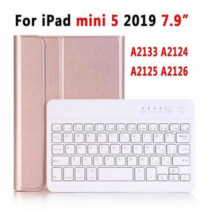 Slim Bluetooth Keyboard Case for Apple iPad 9.7 2017 2018 Air 1 2 3 10.5 2019 Pro 11 12.9 2018 mini 5 Cover with Pencil Slot - Rose Gold for