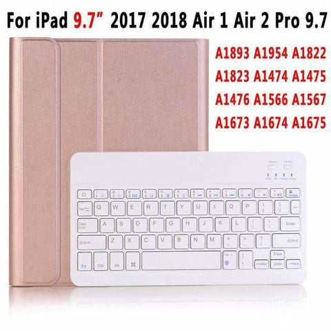 Slim Bluetooth Keyboard Case for Apple iPad 9.7 2017 2018 Air 1 2 3 10.5 2019 Pro 11 12.9 2018 mini 5 Cover with Pencil Slot - RoseGold for