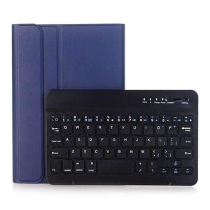 Slim Removable Bluetooth Keyboard Leather Case Cover for Apple iPad mini 4 mini 5 2019 A2133 A2124 A2125 A2126 - Blue - Accessories