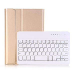 Slim Removable Bluetooth Keyboard Leather Case Cover for Apple iPad mini 4 mini 5 2019 A2133 A2124 A2125 A2126 - Gold - Accessories