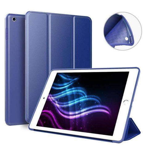 Soft Silicone Back Cover Magnetic Smart Sleep Awake Leather Case for Apple iPad Mini 5 A2125 A2126 - Dark Blue - Accessories