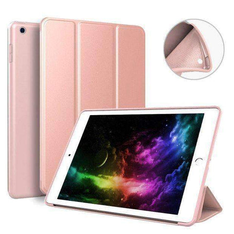 Image of Soft Silicone Back Cover Magnetic Smart Sleep Awake Leather Case for Apple iPad Mini 5 A2125 A2126 - Rose Gold - Accessories