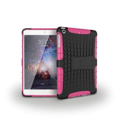 Tire Pattern 2 in 1 Combine Silicon Cover Case for Apple iPad mini 1 2 3 - hot pink - Accessories