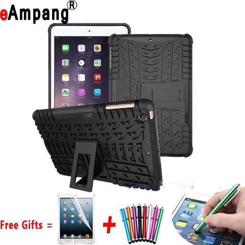 Tire Pattern Armor Hybrid TPU+PC Silicone Shell Cover Case for Apple iPad mini 1 2 3 - Accessories