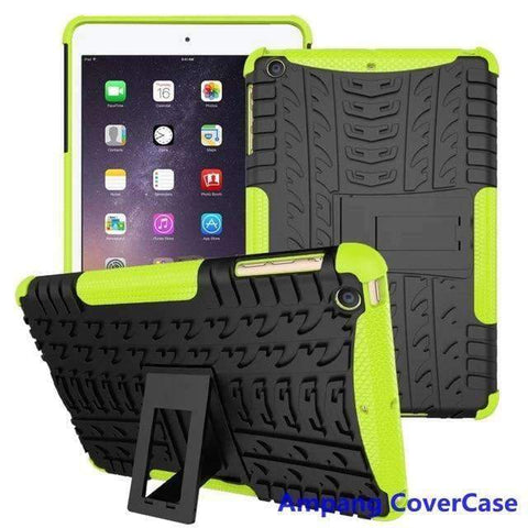 Tire Pattern Armor Hybrid TPU+PC Silicone Shell Cover Case for Apple iPad mini 1 2 3 - green - Accessories