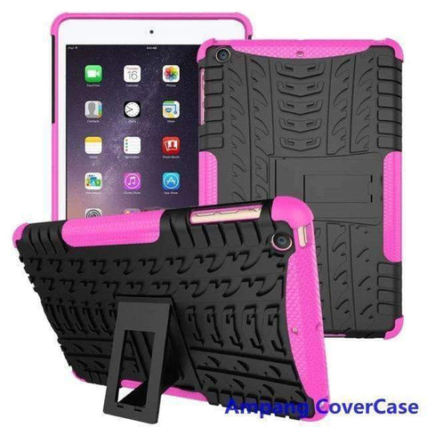 Tire Pattern Armor Hybrid TPU+PC Silicone Shell Cover Case for Apple iPad mini 1 2 3 - hot pink - Accessories