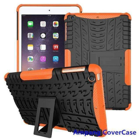 Tire Pattern Armor Hybrid TPU+PC Silicone Shell Cover Case for Apple iPad mini 1 2 3 - orange - Accessories