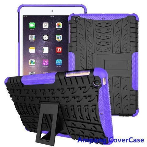 Tire Pattern Armor Hybrid TPU+PC Silicone Shell Cover Case for Apple iPad mini 1 2 3 - purple - Accessories