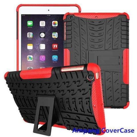 Tire Pattern Armor Hybrid TPU+PC Silicone Shell Cover Case for Apple iPad mini 1 2 3 - red - Accessories