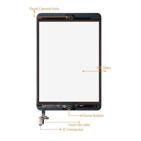 Touch Screen Digitizer + IC + Home Button for iPad Mini 1 & 2 - Black / White - LCDs & Digitizers