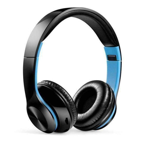 TWS Headphones for Computer Gaming Headset HIFI 5.0 Stereo Bluetooth Earphones Music Headset FM and Support SD card With mic - black blue -