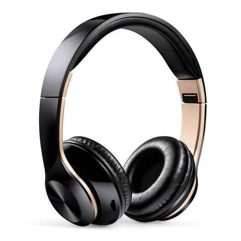 TWS Headphones for Computer Gaming Headset HIFI 5.0 Stereo Bluetooth Earphones Music Headset FM and Support SD card With mic - Black gold -