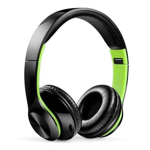 TWS Headphones for Computer Gaming Headset HIFI 5.0 Stereo Bluetooth Earphones Music Headset FM and Support SD card With mic - black green -