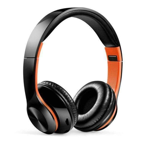 TWS Headphones for Computer Gaming Headset HIFI 5.0 Stereo Bluetooth Earphones Music Headset FM and Support SD card With mic - Black orange