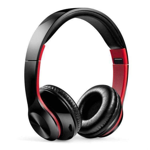 TWS Headphones for Computer Gaming Headset HIFI 5.0 Stereo Bluetooth Earphones Music Headset FM and Support SD card With mic - black red -