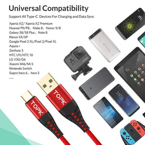 Type C 3A Quick Charge 3.0 USB Fast Charging Data Sync Cable Blue Black Red - Charging Cables