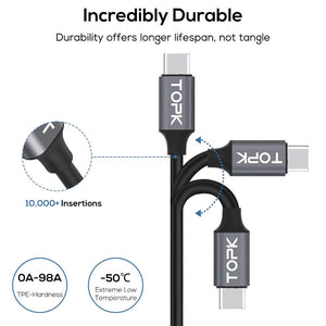 Type C Line2 USB Cable Voltage and Current Display Fast Charging Data Sync - Charging Cables
