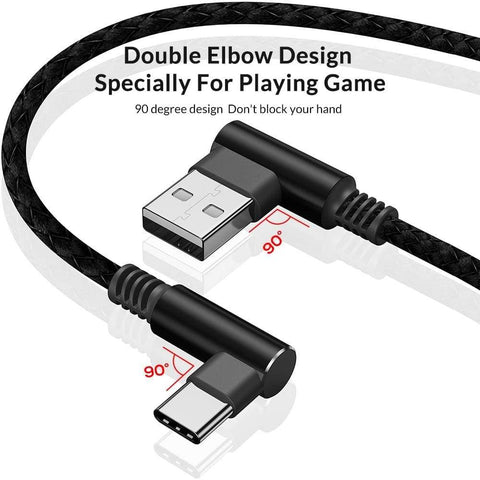 Image of Type C USB Cable 1M (3 ft) 90 Degree 3A Quick Charge L Shape Fast Charging - Charging Cables