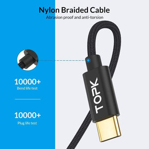 Type C USB Cable AN80 60W 3A QC3.0 Fast Charging Data Sync - Charging Cables