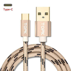 Type C USB Fast Charging Data Sync Cable QC3.0 for Samsung Huawei Gold Gray Red - Gold / 0.25m / 1 Pack (1 Cable) - Charging Cables