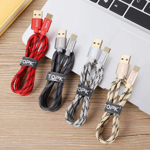 Type C USB Fast Charging Data Sync Cable QC3.0 for Samsung Huawei Gold Gray Red - Charging Cables