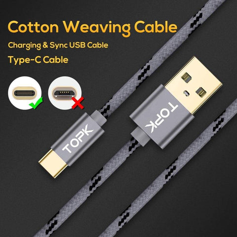Image of Type C USB Fast Charging Data Sync Cable QC3.0 for Samsung Huawei Gold Gray Red - Charging Cables