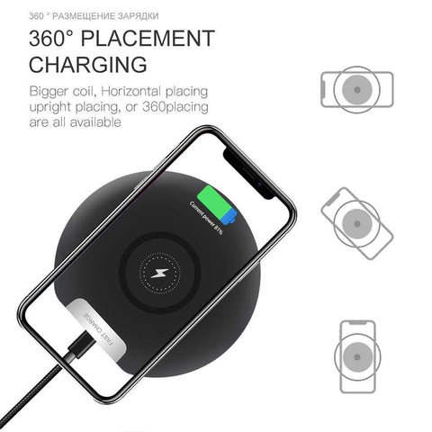Image of Ultra Thin 10W Qi fAST Wireless Charger for iPhone Samsung S9 S10 Note 10 9 - Wireless Chargers