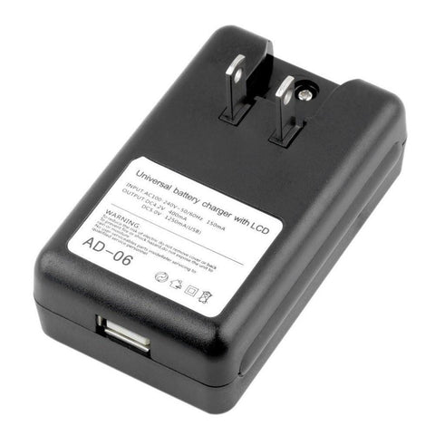Image of Universal Battery Wall Charger with USB port and LCD indicator Screen - Chargers