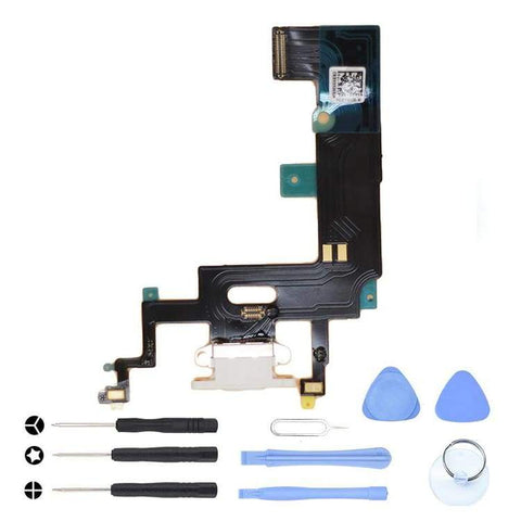 Image of White Charging Charge Port Lightning Connector for iPhone XR A1984 A2106 A2108 - With Tool Kit