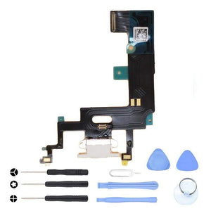 White Charging Charge Port Lightning Connector for iPhone XR A1984 A2106 A2108 - With Tool Kit