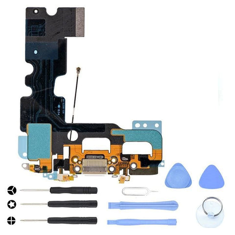 White Charging Dock Port Assembly Flex Cable for iPhone 7 A1660 A1778 A1779 - With Tool Kit - Charge Ports