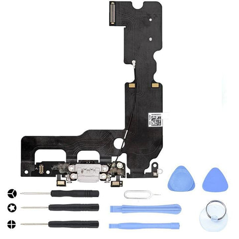Image of White Charging Dock Port Assembly Flex Cable for iPhone 7 Plus A1661 A1784 A1785 - With Tool Kit - Charge Ports