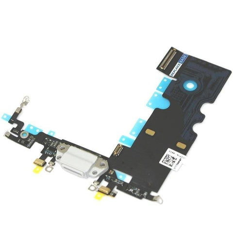 Image of New iPhone 8 Charging Dock Port Assembly Flex Cable with Microphone - White - Charge Ports