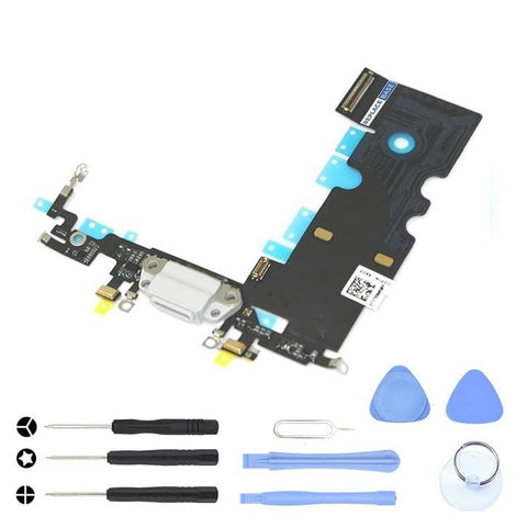 Image of White Charging Dock Port Assembly Flex Cable for iPhone 8 A1863 A1905 A1906 - With Tool Kit - Charge Ports