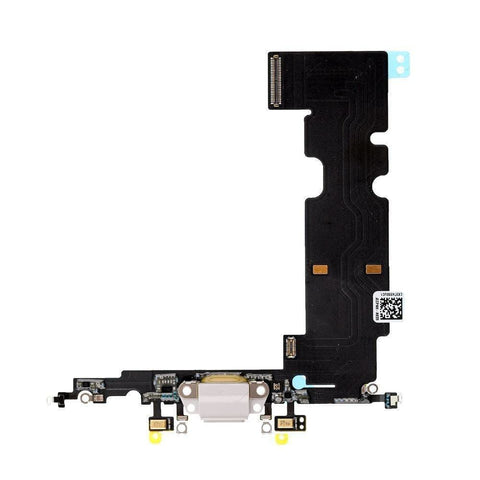 Image of New iPhone 8 Plus Charging Dock Port Assembly Flex Cable with Microphone - White - Charge Ports
