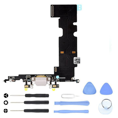 Image of White Charging Dock Port Assembly Flex Cable for iPhone 8 Plus A1864 A1897 A1898 - With Tool Kit - Charge Ports