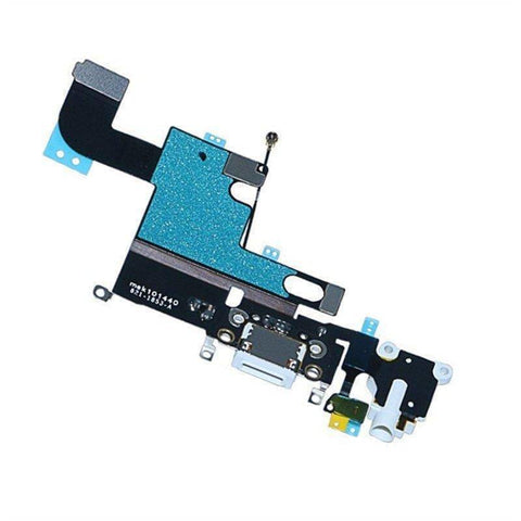 New White iPhone 6 Charging Port + Microphone + Headphone Audio Jack Flex Cable - Charge Ports