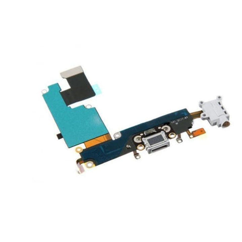 New iPhone 6 Plus Charging Port + Microphone + Headphone Audio Jack Flex Cable - White - Charge Ports