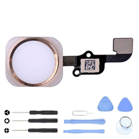 Image of White Home Button flex cable for iPhone 6S A1633 A1688 A1700 6S Plus A1634 A1687 - With Tool Kit - Home Button