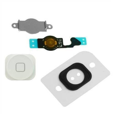White Home Button flex cable + Key Cap + Bracket Holder + Spacer iPhone 5C - Home Button
