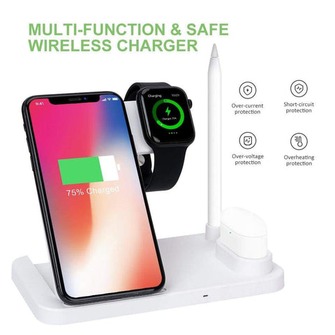 Image of Wireless Charger Charging Stand For Apple Watch iPhone AirPods Samsung Fast QI - Wireless Chargers