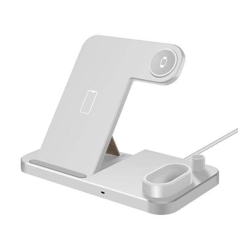 Image of Wireless Charger Charging Stand For Apple Watch iPhone AirPods Samsung Fast QI - White - Wireless Chargers