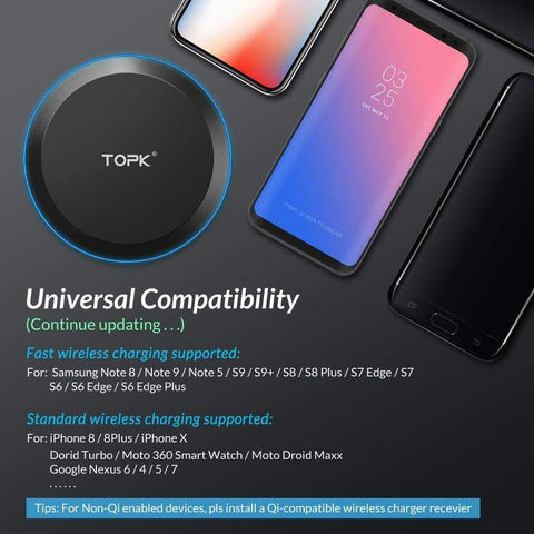 Image of Wireless Fast Charger 10W Charging Pad for iPhone X Xs Max 8 Plus Samsung Note 9 - Wireless Chargers