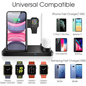 Wireless Fast Charger Charging Station 10W Qi Apple Watch Airpods iWatch iPhone - Wireless Chargers