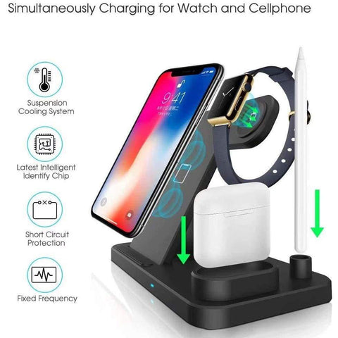 Image of Wireless Fast Charger Charging Station 10W Qi Apple Watch Airpods iWatch iPhone - Wireless Chargers